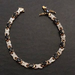 Sapphire & CZ Goldplated XO Sterling Bracelet